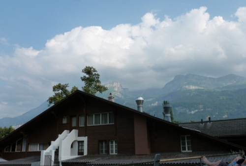 The back of the main hotel is too my right, with the mountains and valley beyond it.